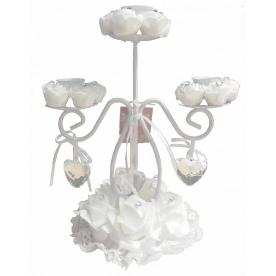 Huwelijk kaarsen kandelaar wit