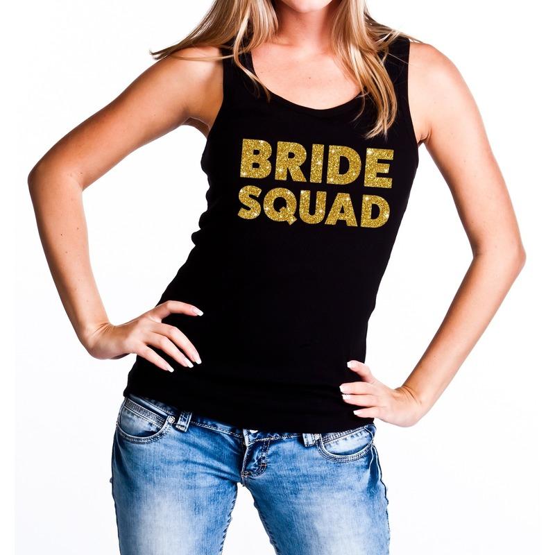 Bride Squad gouden vrijgezellenfeest tanktop / mouwloos shirt zw