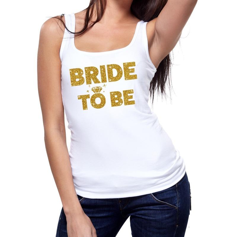 Bride to be gouden vrijgezellenfeest tanktop / mouwloos shirt wi