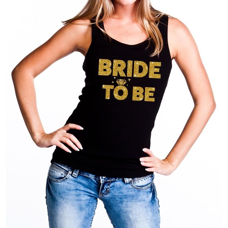 Bride to be gouden vrijgezellenfeest tanktop / mouwloos shirt zw