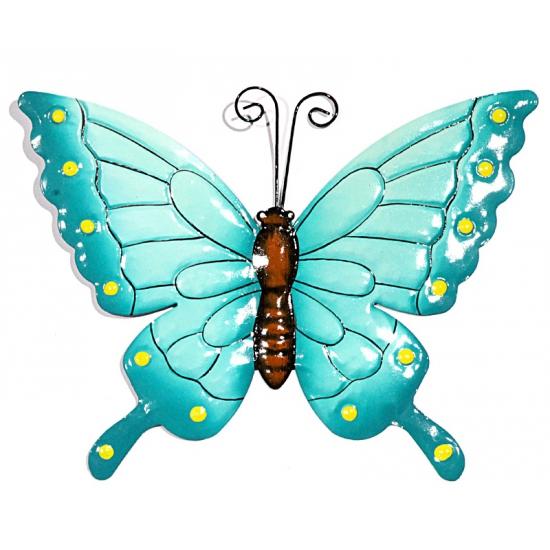 Tuin decoratie vlinder blauw 22 cm   Bruiloft versiering en feestwinkel