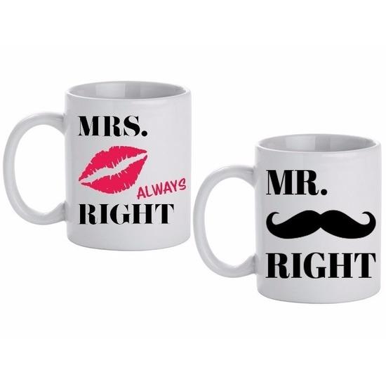 Image of Huwelijk kado beker / mokken set Mr & Mrs Right