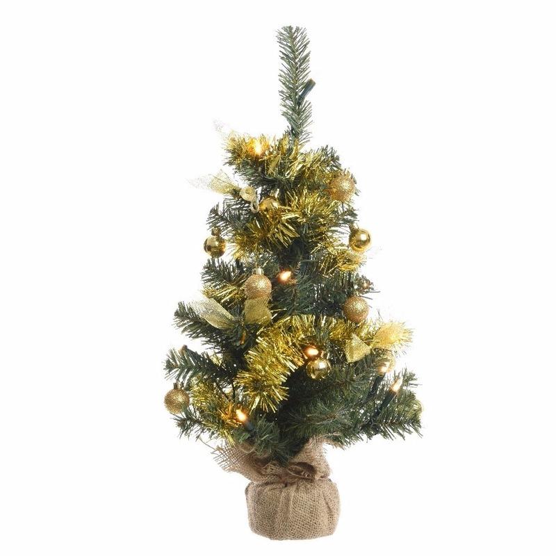 Namaak kerstboom 60 cm groen/goud met LED verlichting - Bruiloft ...