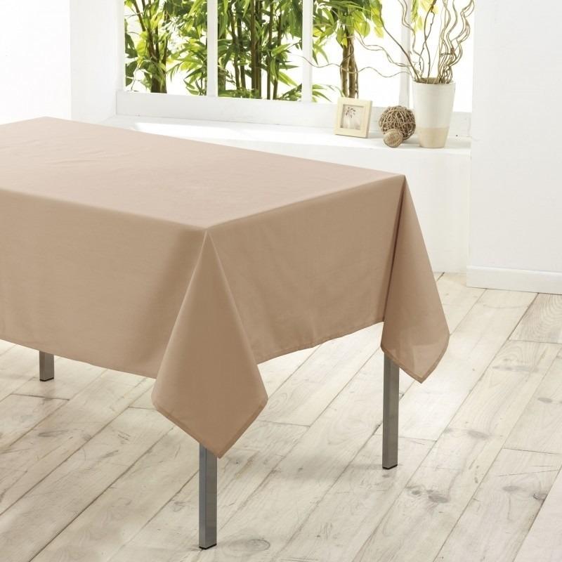 Tafelkleed/tafellaken beige 140 x 250 cm textiel/stof