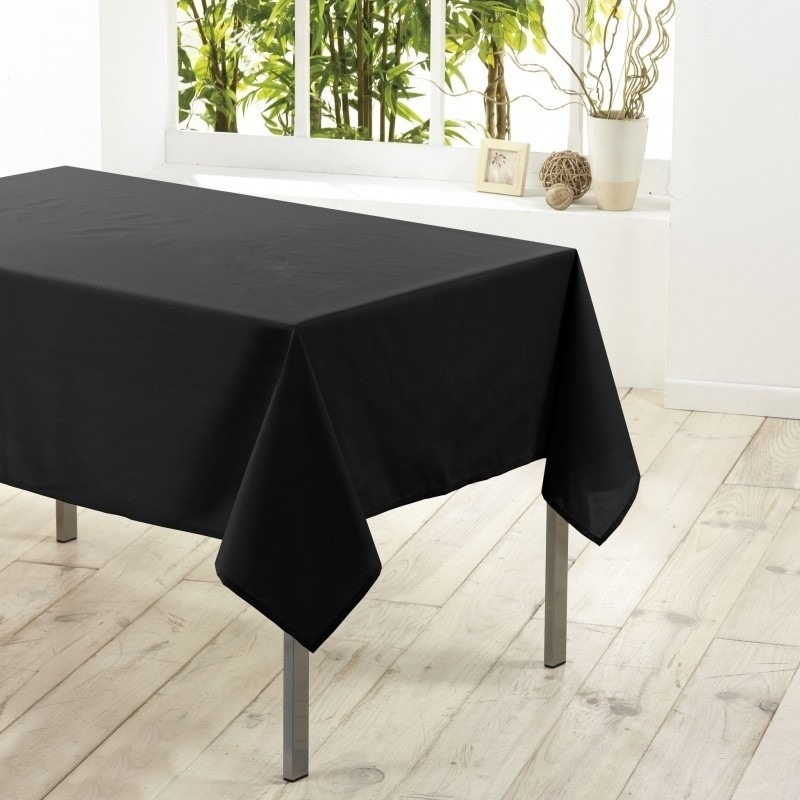 Tafelkleed/tafellaken zwart 140 x 250 cm textiel/stof
