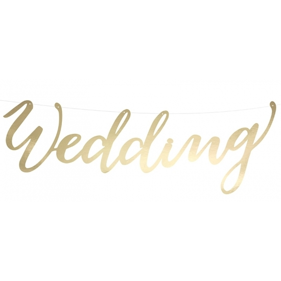 Image of Trouwerij banner Wedding goud